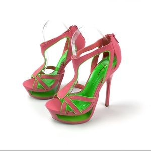 Alba Luceria Coral Green Cut Out Stilettos